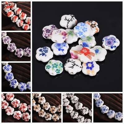 10Pcs 15x6mm Flower Ceramic Porcelain Charms Loose Spacer Beads DIY Bracelets