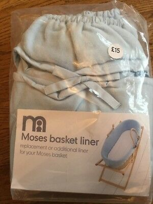 Mothercare Replacement Or Additional Blue Moses Basket Liner ** Bnip **