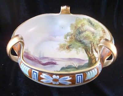 Nippon Morimura 3-handled Bowl - Hand Painted Lakeside Scene - 6.5 in -Vtg Japan