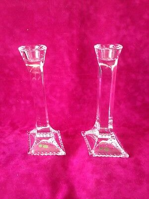 Galway Crystal Candlesticks Candle Holders 8 Inch + Lead Crystal Pair New Superb