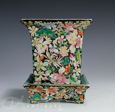 Old Chinese Porcelain Mille Fleur Planter Bowl With Under Plate