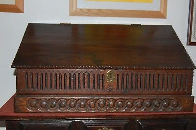 17th Century Early English Oak Deed box with 4 Internal Drawers Lovely Condition
