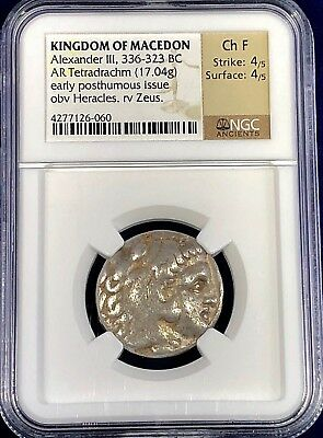 Macedon Alexander the Great silver Tetradrachm early posthumous issue NGC Ch F