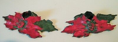 Antique Vintage Pair Of Cast Iron Christmas Candle Holders Poinsettia Flower LVL