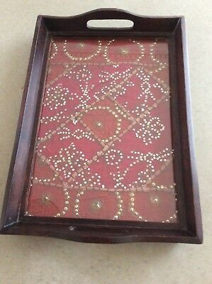 Vintage Wood Glass Top Serving/Butlers Tray With Handles/Middle Eastern Textile