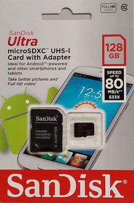 New SanDisk 128GB microSDXC 80MB/s Ultra 128G micro SD SDXC Class 10 UHS-1 Card