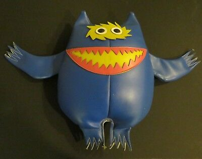 """Vintage 1960s Monster Naugahyde Advertising Doll 14"""" tall Blue/Yellow/Pink"""
