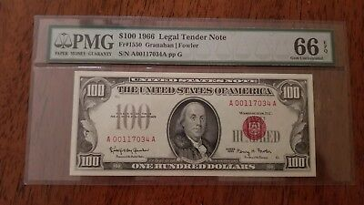 1966 $100 Red Seal Legal Tender Note PMG 66 Fr#1550 Granahan/Fowler
