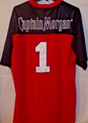 Captain Morgan Rum Red Black #1 Football Style Sewn Patch Jersey Rare