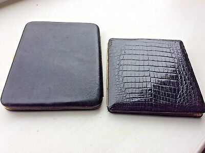 2 crocodile and leather Dunhill & Fortnum & Mason Vintage cigarette card cases