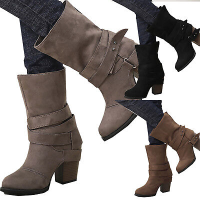Womens Ladies Mid Calf Block Heel Boots Winter Chunky Buckle Slip On Shoes Size