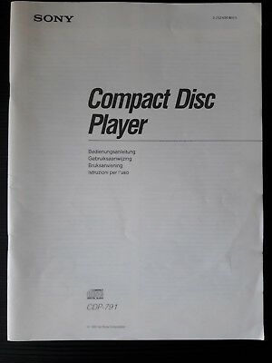 SONY - CDP-791 - Compact Disc Player - Bedienungsanleitung