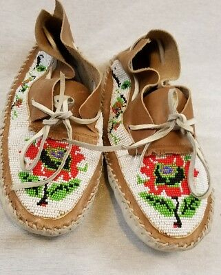 Native American Plains Indian Beaded Leather Moccasins. Very Nice Color & Design