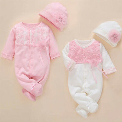 Baby clothes infant girls princess bodysuit  jumpsuit + hat baby shower gift