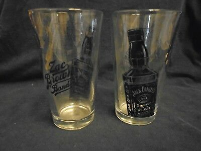 Jack Daniels THE ZAC BROWN BAND Drinking Glasses set of 2