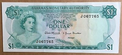 Bahamas Monetary Authority $1 One Dollar 1968 banknote, Ungraded, Exc condition