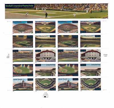US Stamps 34c Sheet of 20 Baseball's Legendary Playing Fields MNH Wrigley Tiger