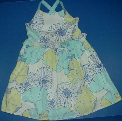Gymboree Tide Pool Floral Silver Thread Lined Strap Sundress Ruffle Waist 4T