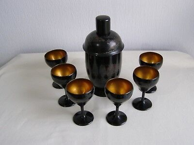 Vintage Chinese lacquer cocktail set - shaker and 6 glasses by Kuo Kwang Foochow