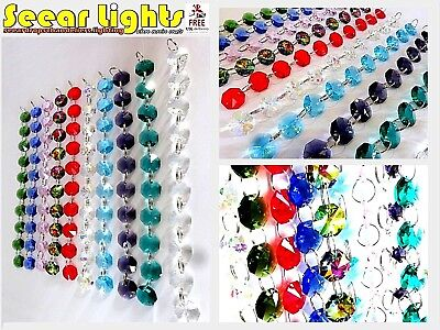 Colour Christmas Garland Chandelier Crystals Droplets Cut Glass Tree Beads Drops