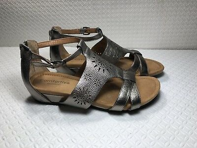 98cde3a298bd VERY VOLATILE FLAT Sandals Metallic Gray with Rhinestones Size 8 ...