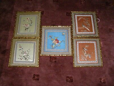 5 vintage Japanese silk embroideries - framed and under glass