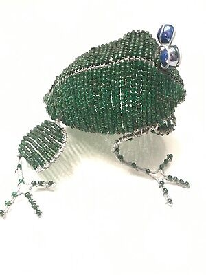 Large Green Beaded Frog Handcrafted Wire & Beads Unique