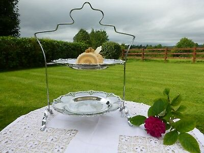 VINTAGE SILVER PLATE & CHROME ART DECO 1930s 2 TIER CAKE STAND w' ORIG PLATTERS