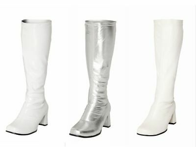 Fancy Dress GOGO Party Boots  60s 70s White & Silver  Retro Disco Knee High