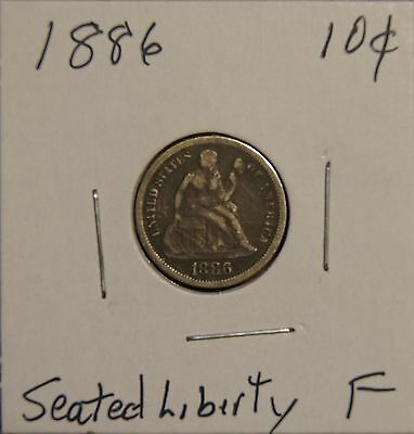 1886 Seated Liberty Dime-10C Over 120 Years Old - Fine
