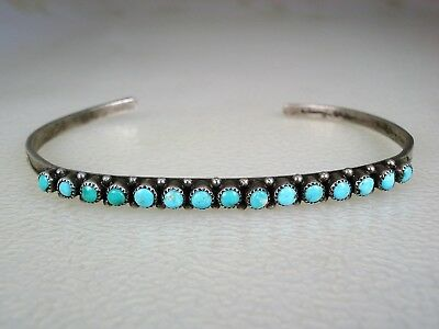 Old Zuni Stamped Sterling Silver & 15 True Snake-Eye Turquoise Row Bracelet