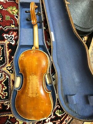 Old 4/4 Violin, One Piece Back - For Repair - Parts Vintage, W/old Case.