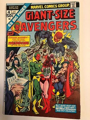 1975 Marvel Giant Size Avengers #4 Wedding Of Vision & Scarlet Witch Hi-Grade