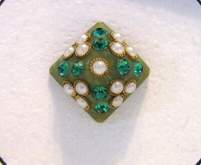 Vintage Very Pretty Green Button with Faux Gems and Pearls