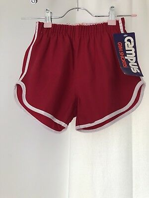 Vintage 1970s Childrens Red Poly/Cotton Campus Gym Shorts NEVER WORN W/ TAGS