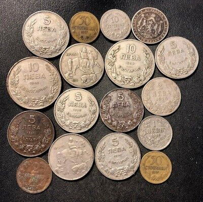 Old Bulgaria Coin Lot - 1912-1943 - 17 Uncommon Coins - Lot #917