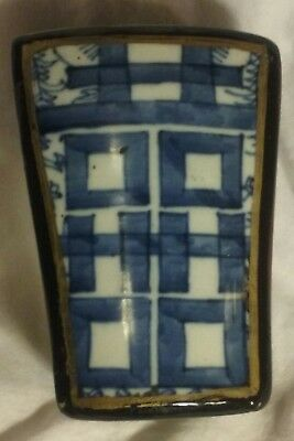 Antique Vintage Wood Laquer Happiness Blue White Shard Box