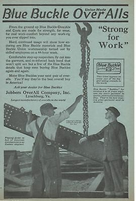 """Blue Buckle Overalls Ad from 1920 """"Strong for Work"""""""