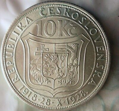 1928 CZECHOSLOVAKIA 10 KORUN - AU/UNC - Uncommon Silver Crown Coin - Lot #917