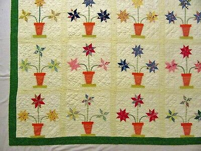 Antique 1930's Handmade Hand Stitched Feedsack Flowers in a Vase Quilt - 84x70