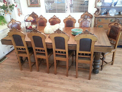 antique oak table  & 12 maching chairs
