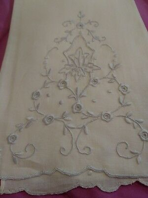"""Beautiful Appenzell Madeira Embroidered  Linen Hand Towel 14"""" by 9 1/2"""""""