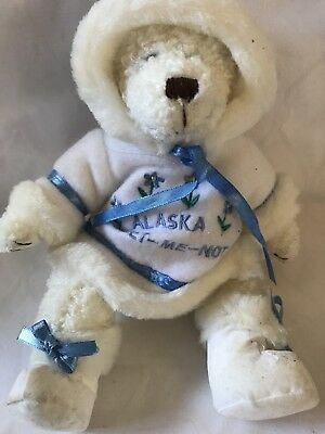 Alaska Berry Patch Bears Forget Me Not White Teddy Bear