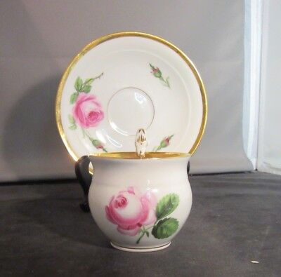 Meissen Demitasse Tea Cup Teacup Saucer Rose Swan Handle 1800's