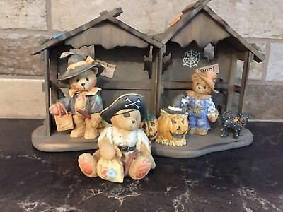 Cherished Teddies Halloween Characters with Display