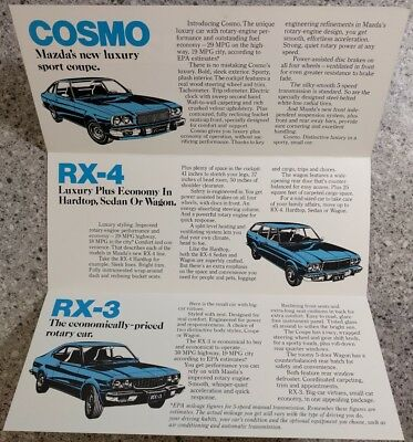 1976 Mazda Improved Rotary Engine Sales Brochure Mailer Cosmo RX-4 RX-3