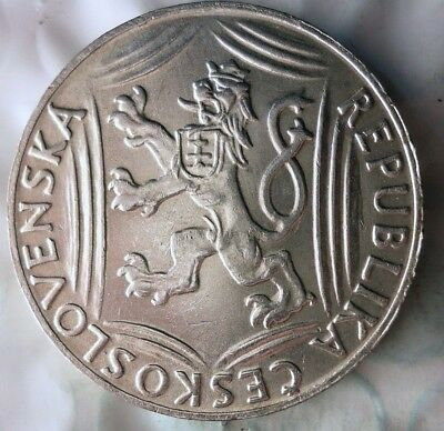 1948 CZECHOSLOVAKIA 100 KORUNA - AU/UNC - UNCOMMON Silver Crown Coin - Lot #917