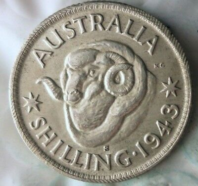 1943 S AUSTRALIA SHILLING - EXCELLENT WW2 ERA Silver Coin - Lot #917
