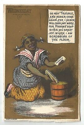 Higgins' Laundry Soap Trade Card Black Americana Wednesday Floors-Forbes Co.