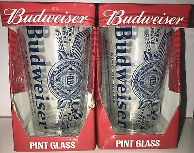 Set Of 2 Officially Licensed BUDWEISER 16oz. PINT GLASSES Glass Collectable
